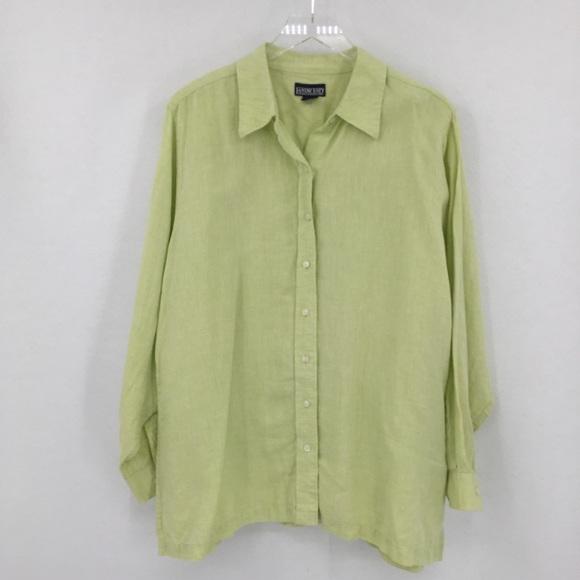 Lands End green linen shirt button front top 18W
